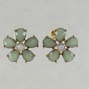 Sage green flower earrings